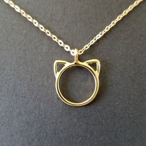 Jewelry - Gold cat necklace, cat jewelry, kitty necklace
